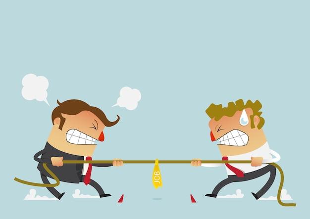 Zakenman twee die in de touwtrekwedstrijdconcurrentie vechten Premium Vector