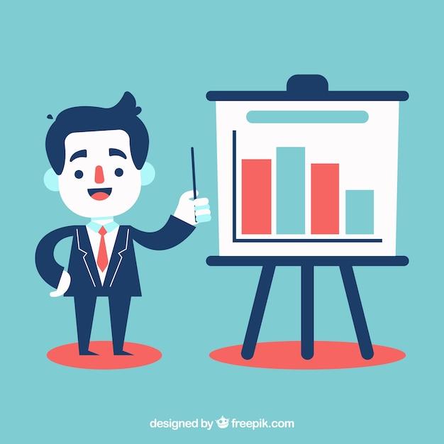 Zakenman uit te leggen statistieken Gratis Vector