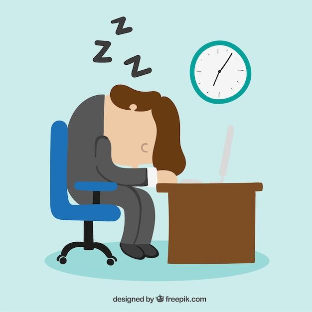 Zakenman valt in slaap op zijn bureau Gratis Vector