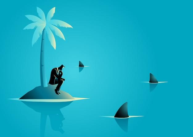 Zakenman vast komen te zitten op het eiland met water vol met haai Premium Vector