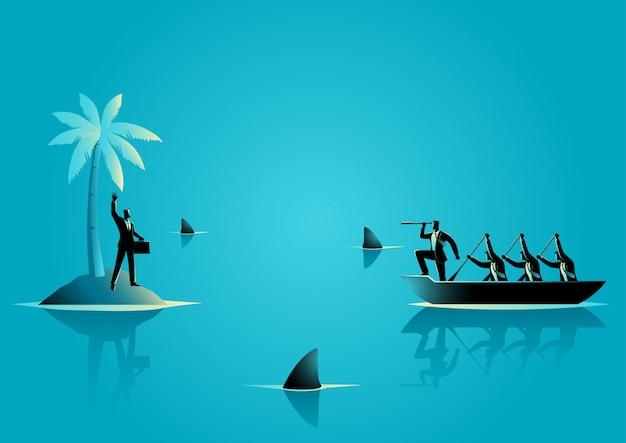 Zakenman vast komen te zitten op het eiland met water vol met haaien Premium Vector