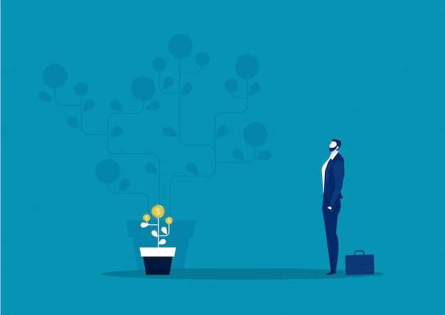Zakenman verbeelding plant geld muntboom groei toekomstige illustratie voor investeringsconcept. Premium Vector