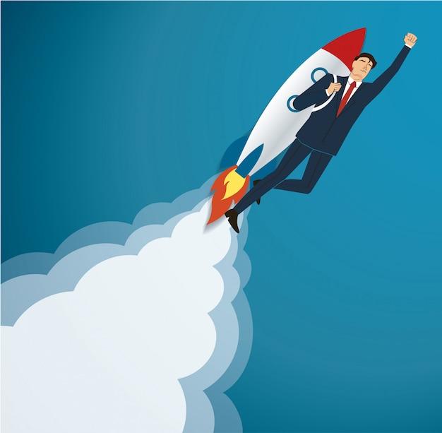 Zakenman vliegt op een raket Premium Vector