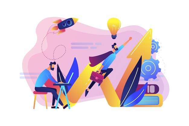 Zakenman werken en vliegen als superheld met aktetas. start lancering, start onderneming en ondernemerschapsconcept Gratis Vector