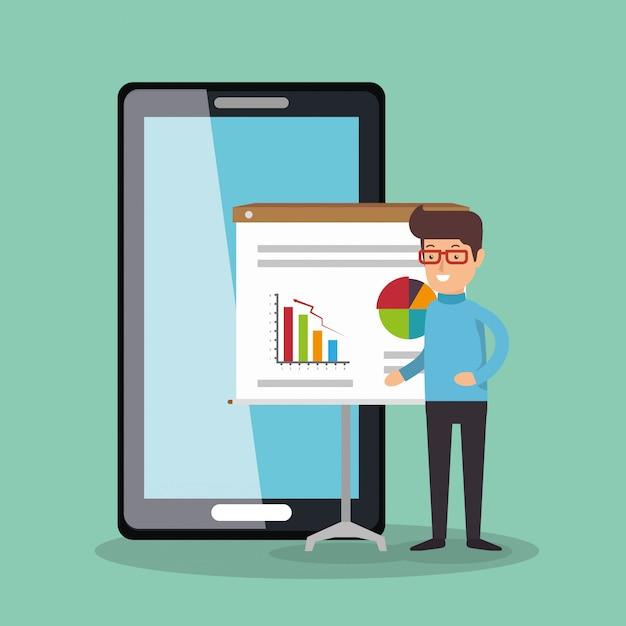 Zakenman werken met smartphone Gratis Vector