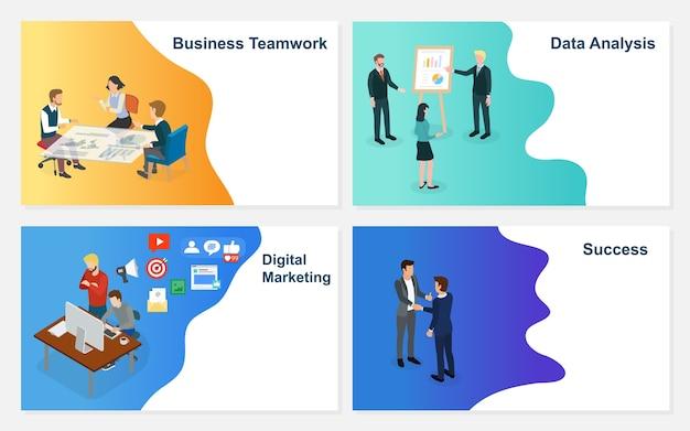 Zakenman werken met team op creatief idee project. Premium Vector