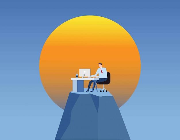 Zakenman werkende mens die op het kantoor voor lange uren blijft Premium Vector