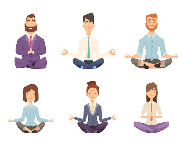 Zakenman yoga. man en vrouw ontspannende meditatie bij het beeldverhaalillustratie van de werkruimtelijst Premium Vector
