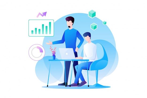 Zakenmanenteamwerk werkt aan analytics van marketing en hun product met grafiek, informatie en gegevensanalyse. platte karakter ontwerp illustratie Premium Vector