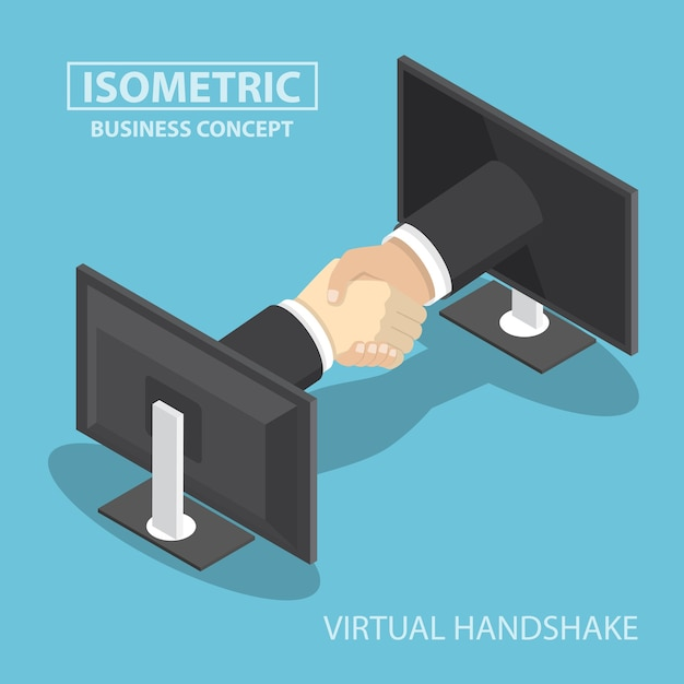 Zakenmanhanden die uit van het monitorscherm bereiken Premium Vector