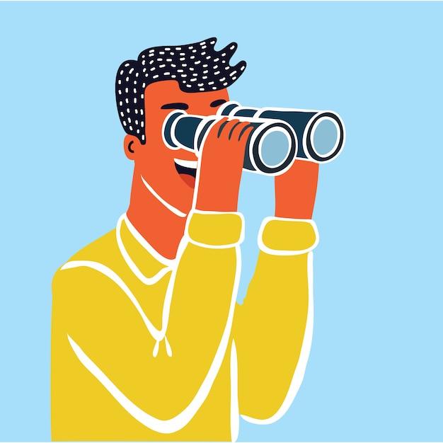 Zakenmankarakter die door kijkglas kijken. zakenman op zoek telescoop. concept. voorraad. Premium Vector