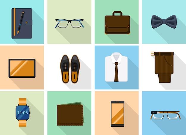 Zakenmankleren en gadgets in vlakke stijl. modeschoenen en notitieboekje en portemonnee, smartphone en smartglasses. Gratis Vector