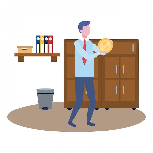 Zakenmens avatar van cartoon Gratis Vector