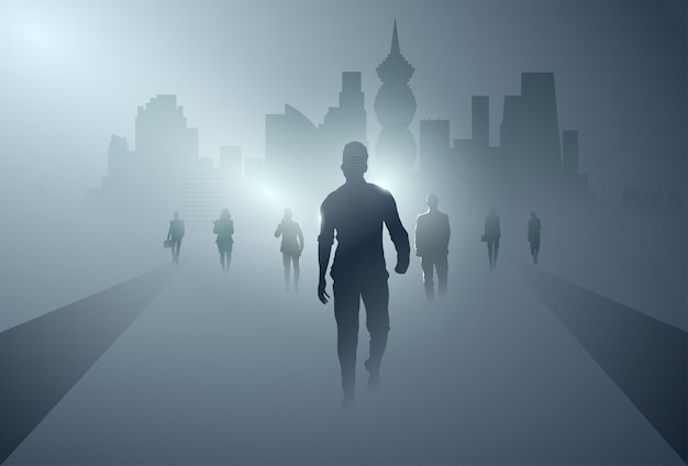 Zakenmensen groep silhouet maken stap vooruit volledige lengte over schaduw stad achtergrond Premium Vector