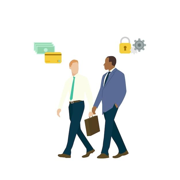 Zakenmensen praten over beveiliging van online bankieren Gratis Vector