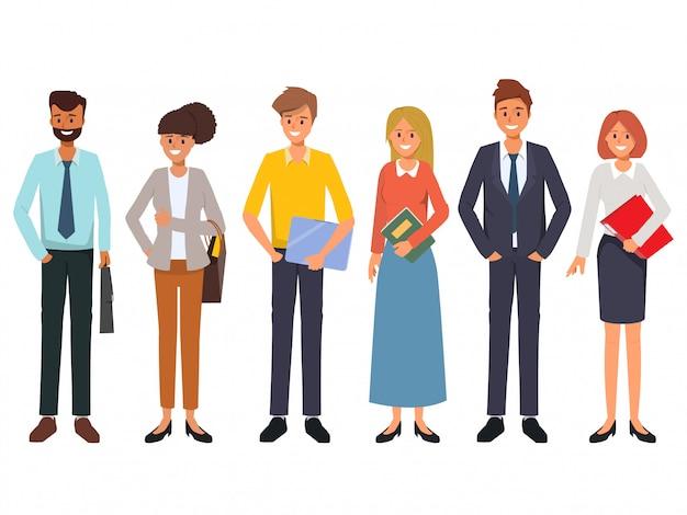 Zakenmensen teamwerk kantoor karakter Premium Vector