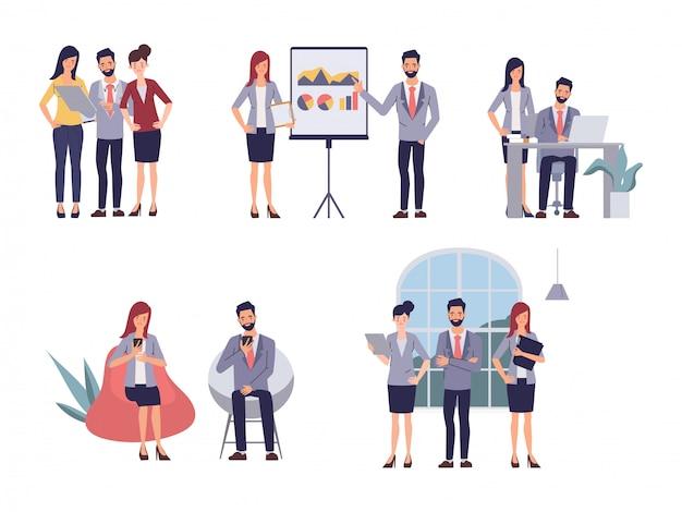 Zakenmensen teamwerk office seminar vergadering. cartoon vectorillustratie in vlakke stijl. Premium Vector