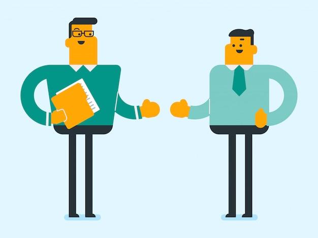 Zakenpartners gaan handen schudden. Premium Vector