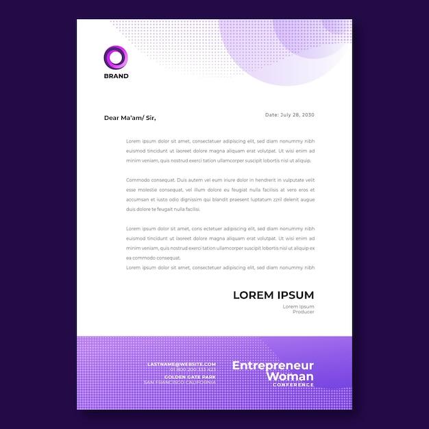 Zakenvrouw briefpapier sjabloon Premium Vector