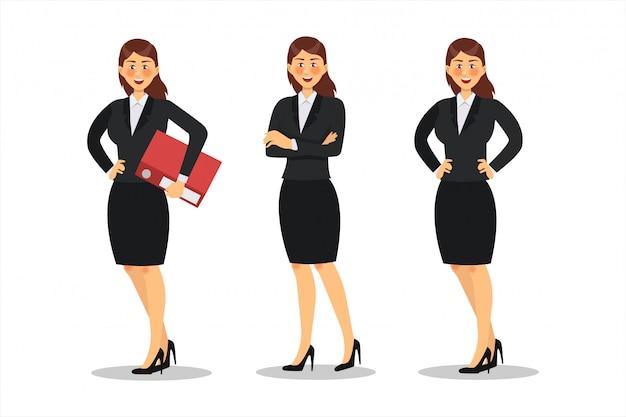Zakenvrouw characterdesign. werken op kantoor, poseren, plat Premium Vector
