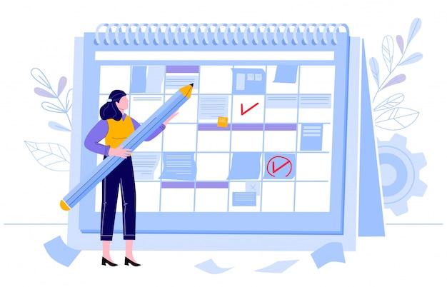 Zakenvrouw check kalender. planningsdag, werkmaand projectenplanner en check evenementenkalenders. vrouwelijk karakter met potlood illustratie. taakplanning, organisatiebeheer Premium Vector