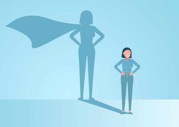 Zakenvrouw droomt ervan een superheld te worden. de zekere knappe jonge illustratie van het de schaduwconcept van zakenman status superhero Premium Vector