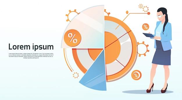 Zakenvrouw hold tablet computer visualisatie analyse financiën grafiek financiële zaken grafiek cop Premium Vector