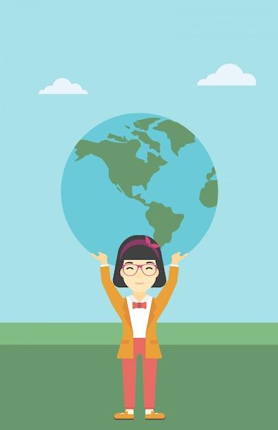 Zakenvrouw houden earth globe. Premium Vector