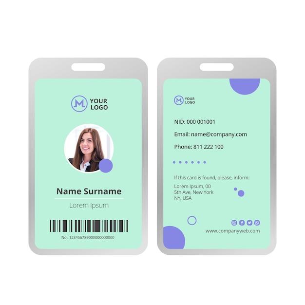 Zakenvrouw identiteitskaart sjabloon Premium Vector