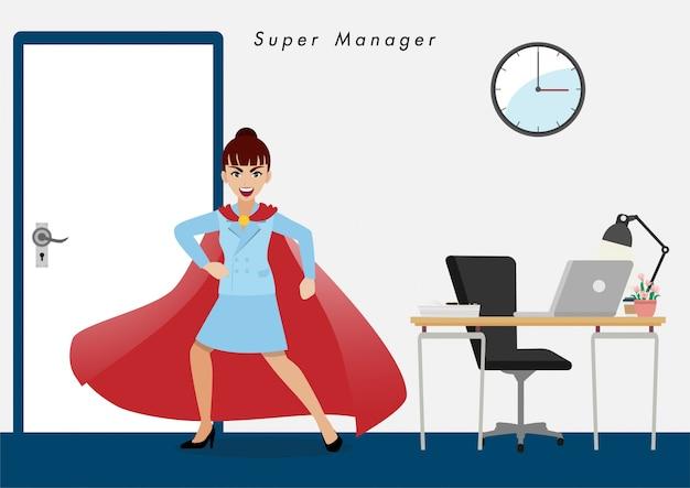 Zakenvrouw in superheld. isoleer zakenmensen cartoon karakter plat Premium Vector