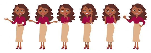 Zakenvrouw karakter of zakenvrouw cartoon in verschillende poses set Premium Vector