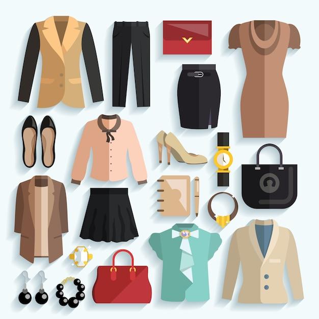 Zakenvrouw kleren pictogrammen Gratis Vector