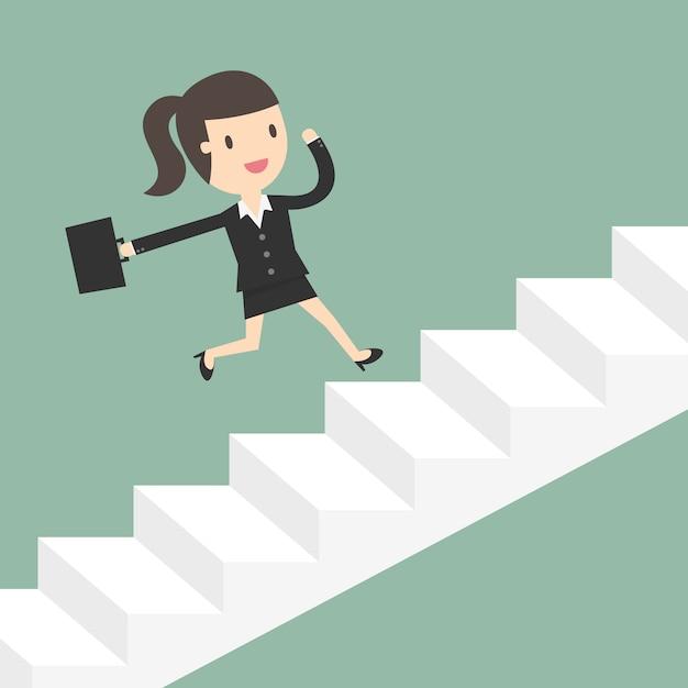 Zakenvrouw lopen over trappen Gratis Vector