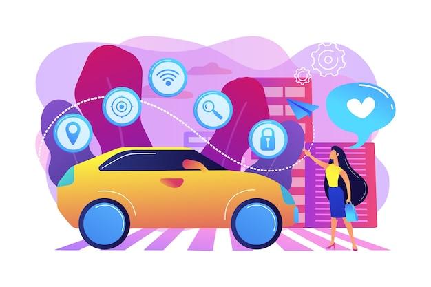Zakenvrouw met hart houdt van autonoom auto met technologie iconen. autonome auto, zelfrijdende auto, zelfrijdende robotvoertuigconcept. heldere levendige violet geïsoleerde illustratie Gratis Vector
