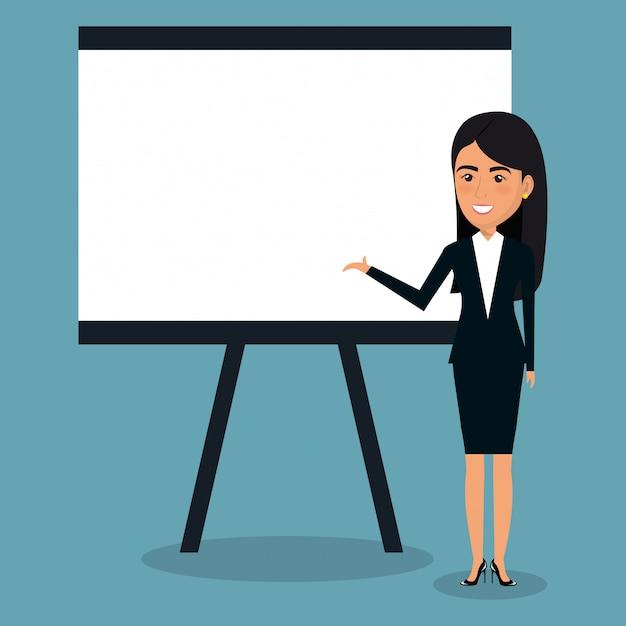 Zakenvrouw met karton voor presentatieillustratie Gratis Vector