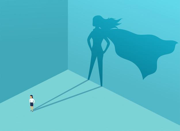Zakenvrouw met schaduw superheld Premium Vector
