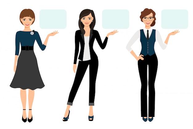 Zakenvrouw presentatie vectorillustratie. volwassen vrouwenzaken geïsoleerd presenteren Premium Vector