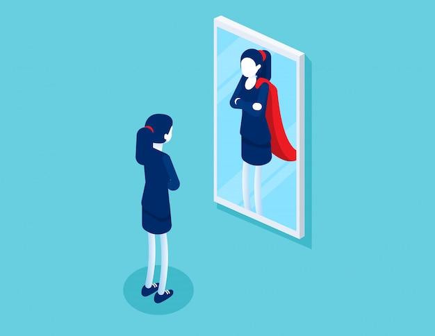 Zakenvrouw staat voor een spiegel wordt weerspiegeld als een superman. Premium Vector