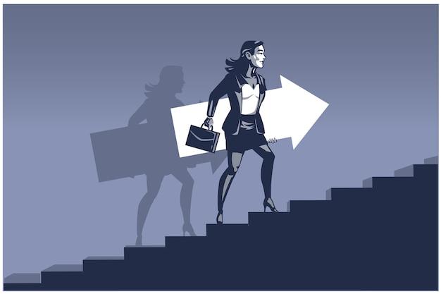 Zakenvrouw uitvoering pijl stappen op trappen. zakelijke illustratie concept van bedrijfsontwikkeling Premium Vector