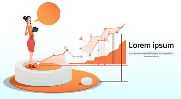 Zakenvrouw visualization analysis finance graph financial business grafiek kopie ruimte Premium Vector