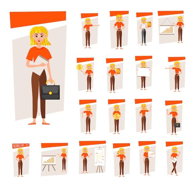 Zakenvrouw werken karakter ontwerpset. het meisje wordt weergegeven op de ontwikkelingsgrafiek. 12 vormt vector illustratie. Premium Vector