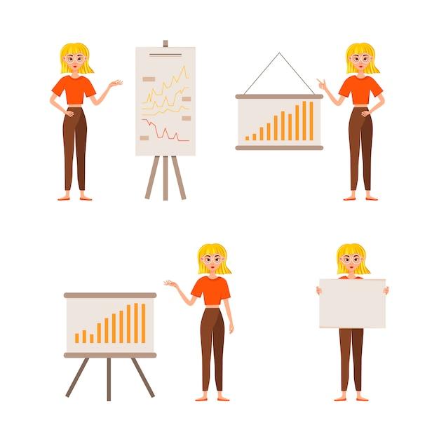 Zakenvrouw werkend karakter ontwerpset. het meisje verschijnt op de ontwikkelingskaart. 12 vormt vectorillustratie. Premium Vector