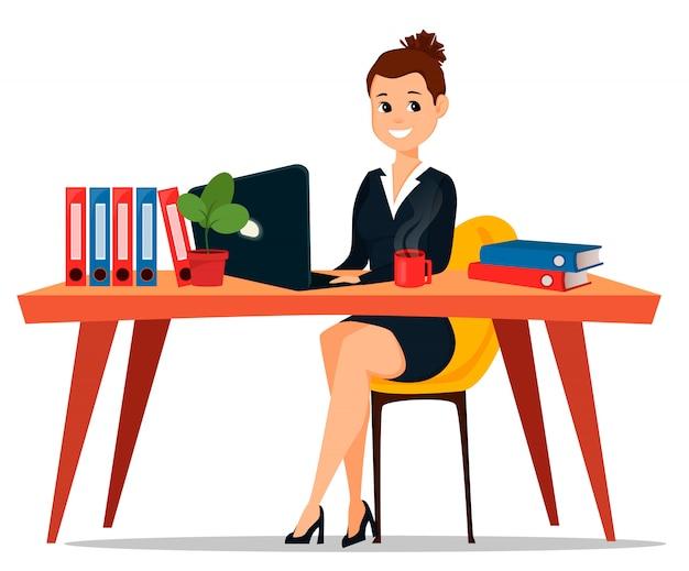 Zakenvrouw zitten aan de tafel Premium Vector