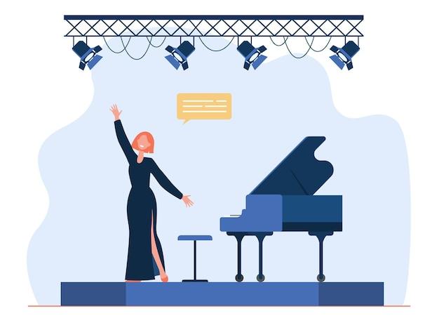 Zanger die op het podium presteert. zingende vrouw, zangeres, geweldige piano. cartoon afbeelding Gratis Vector