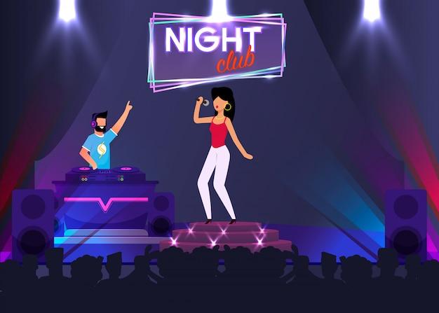 Zanger en dj optreden op het podium in night club Premium Vector