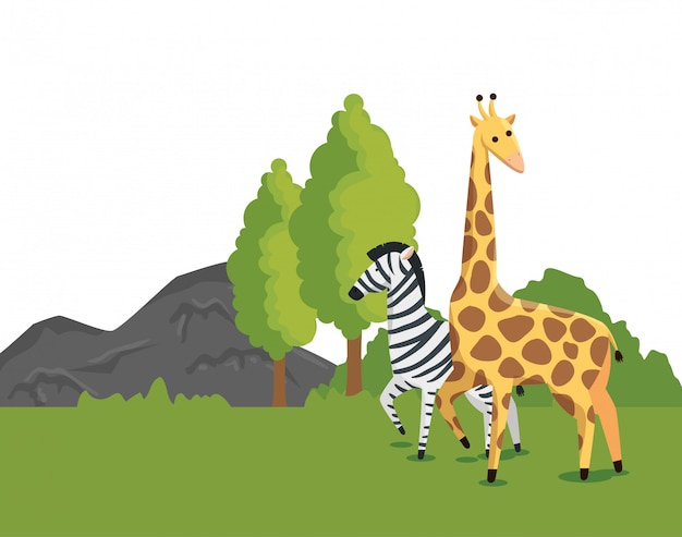 Zebra en giraf wilde animls met aardbomen Gratis Vector