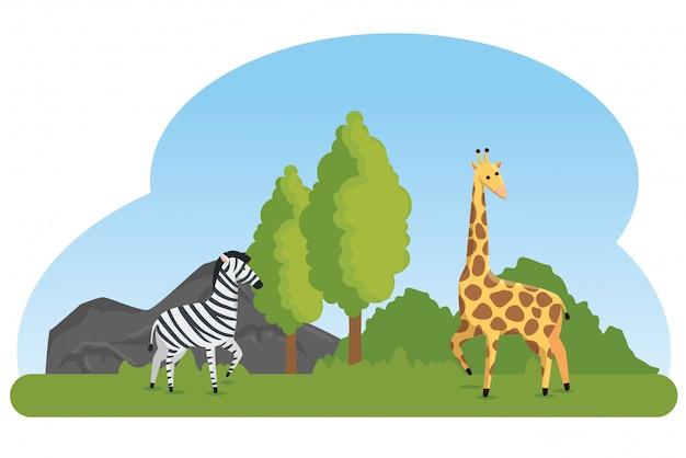 Zebra en giraf wilde dierenreserve Gratis Vector