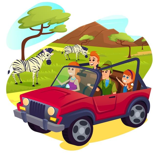 Zebra kudde grazen op prachtige groene veld. Premium Vector