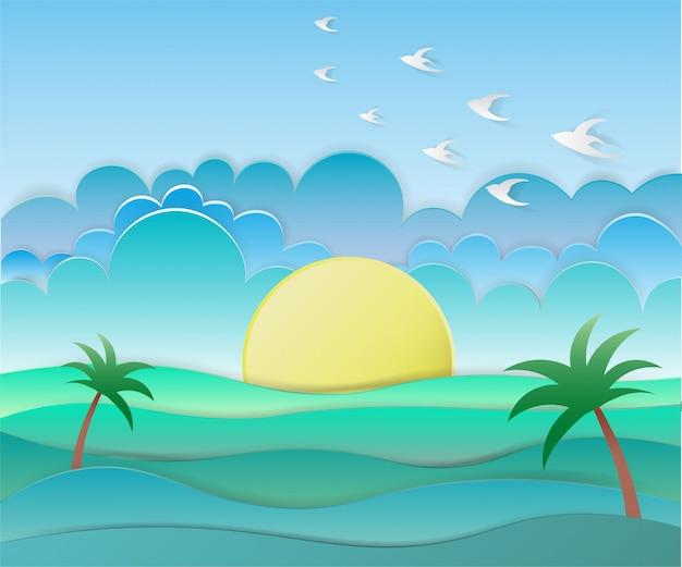 Zee achtergrond met vogels en zon in papier kunststijl Premium Vector