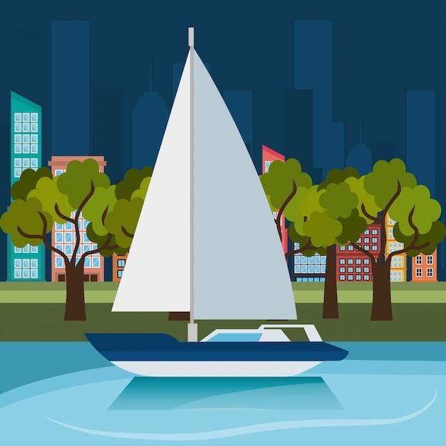 Zee avontuur sailign boot label Gratis Vector